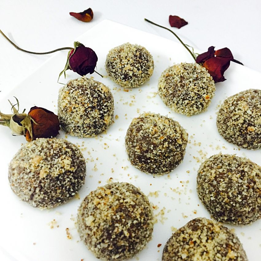 Almond coated chocolate truffles