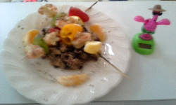Langostino Kebabs over Black Beans & Rice w/Grilled Orange Sections