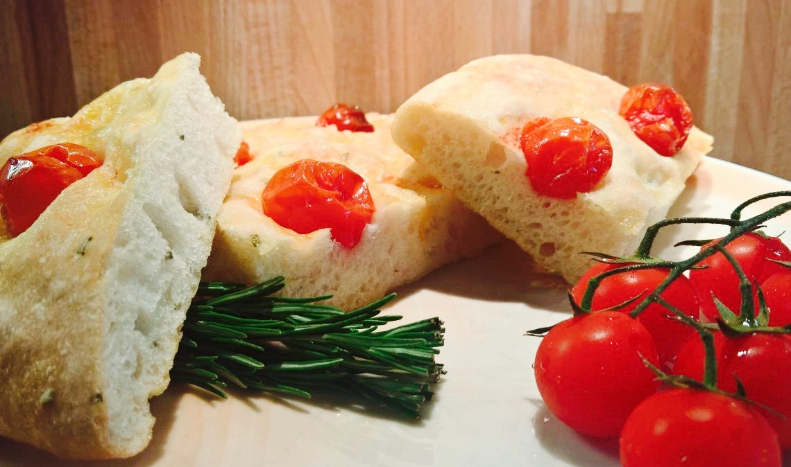 Focaccia with cherry tomatoes and rosemary