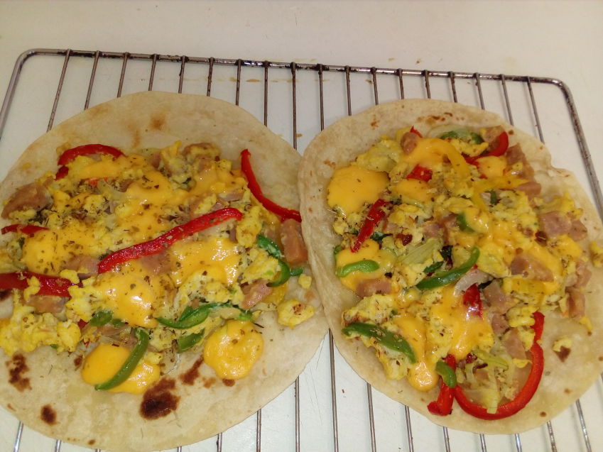 Tacos with vegies and scrambled egg filling