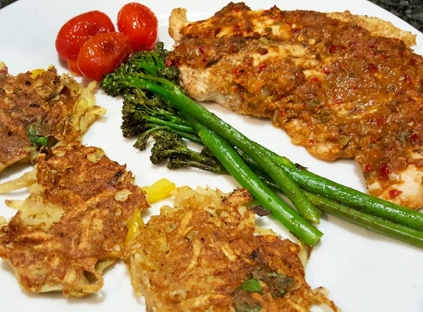 Burning Chicken with Sweet Potato Cakes