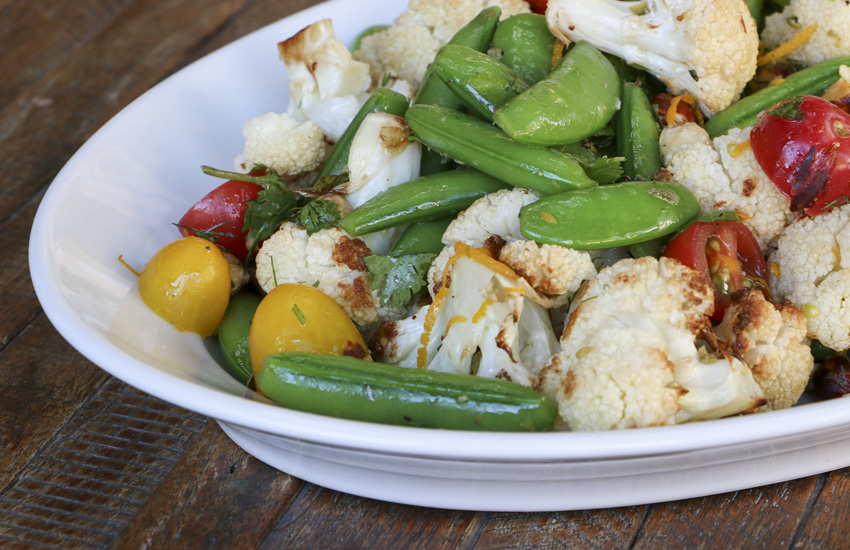 Cauliflower, Snap Peas & Tomato Salad