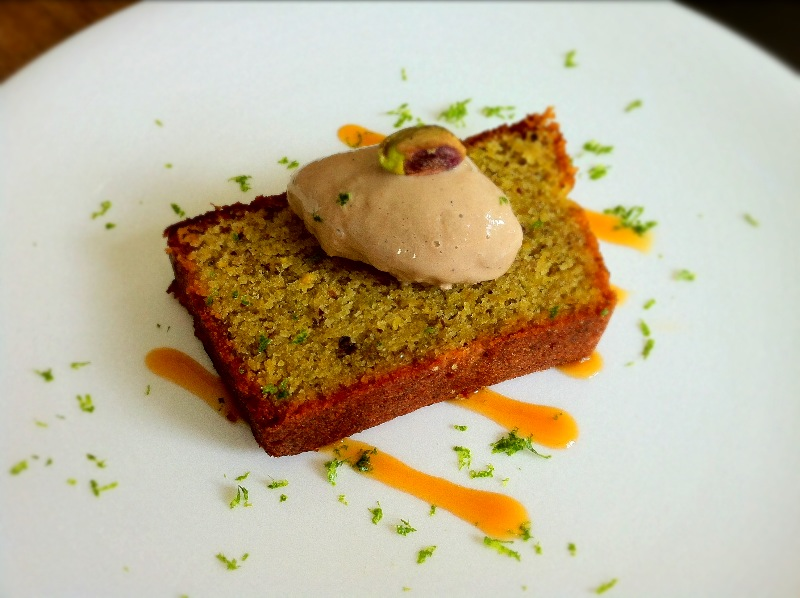Lime and Pistachio Cake with Chai Ice Cream