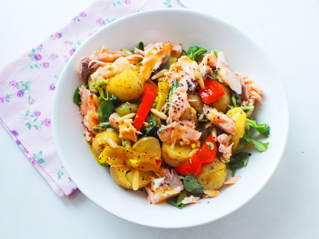 Roasted Pepper and Salmon Potato Salad