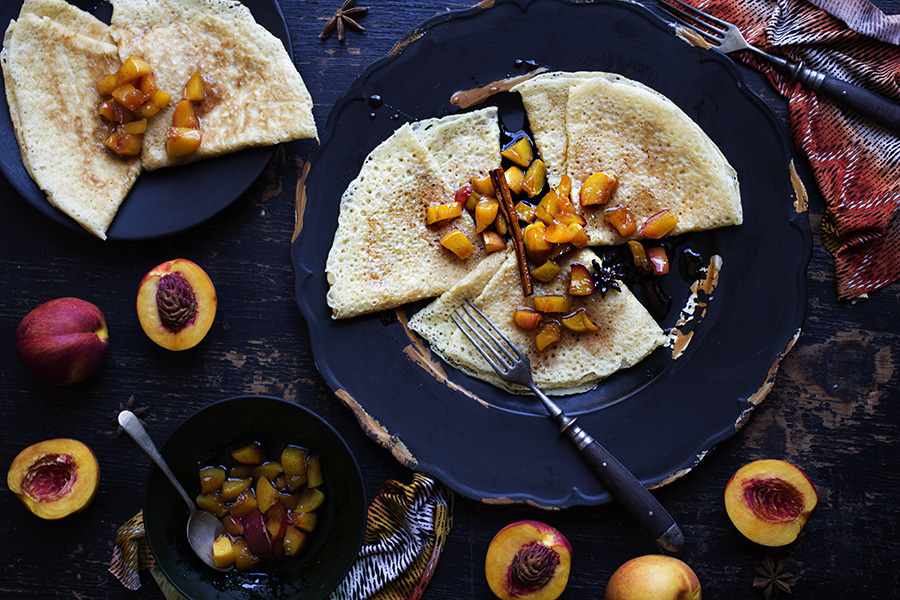Crepes with Spiced Caramelized Nectarines