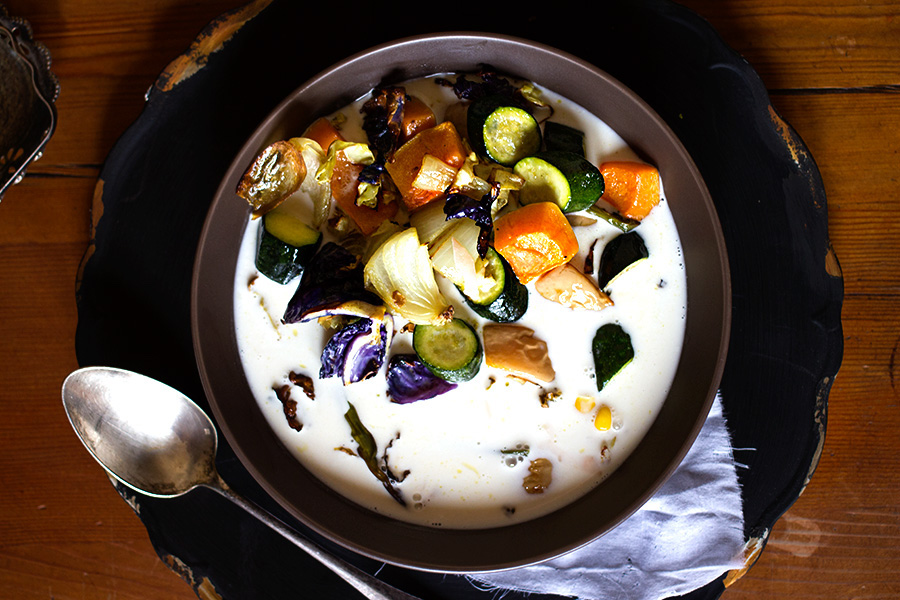 Roasted Vegetable and Coconut Milk Soup