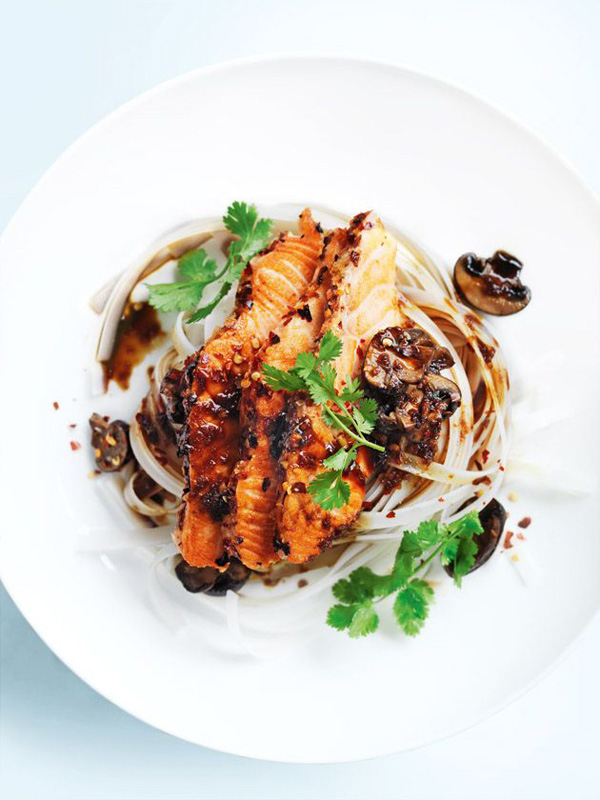 Ginger and Chilli Salmon with Noodles